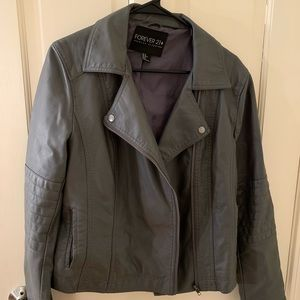 Grey leather jacket - Forever 21 plus- size XL